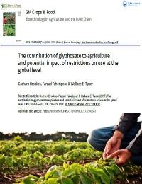 La contribución de glifosato para la agricultura y el impacto potencial de las restricciones de uso a nivel mundial
