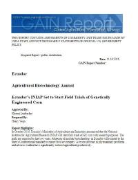 Informe del USDA sobre la situación de la biotecnología agraria en Ecuador