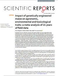 Impacto del maíz genéticamente modificado en los rasgos agronómicos, ambientales y toxicológicos: un meta-análisis de 21 años de datos de campo