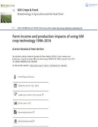 Impactos del ingreso y la producción mediante el uso de tecnología de cultivos OGM 1996-2016