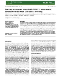 El evento transgénico de apilamiento DAS-Ø15Ø7-1 altera menos la composición del maíz que el obtenido por reproducción tradicional