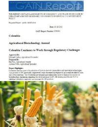 Reporte USDA sobre la biotecnología agrícola en Colombia