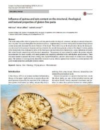 Influencia del contenido de quinua y zeína en las propiedades estructurales, reológicas y de textura de la pasta sin gluten