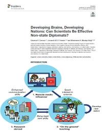 Cerebros en desarrollo, naciones en desarrollo: ¿Pueden los científicos ser efectivos diplomáticos no estatales?