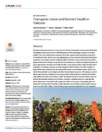 Algodón transgénico y salud de los agricultores en Pakistán