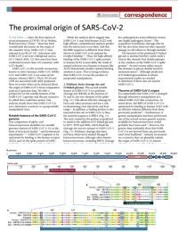 El origen proximal del SARS-CoV-2