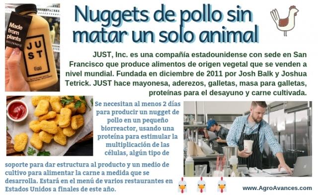 Una empresa produce nuggets de pollo sin matar un solo animal