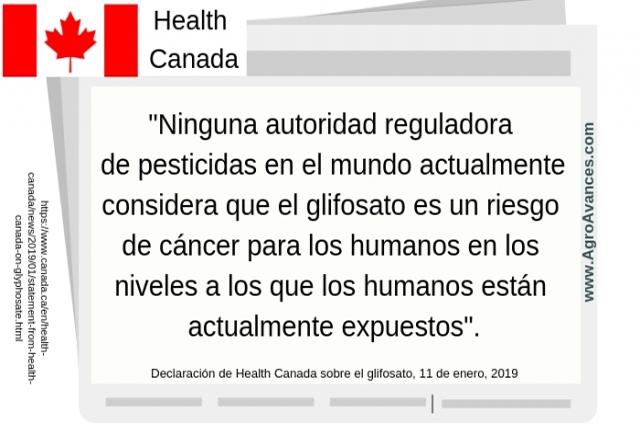 Declaración de Health Canada sobre el glifosato